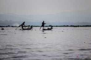 Intha fishermen demonstrating the unique way in which the locals paddle their boats with one leg wrapped around the oar