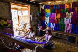 Padaung women weaving textiles