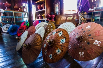 Umbrellas, handmade at a workshop on Inle Lake